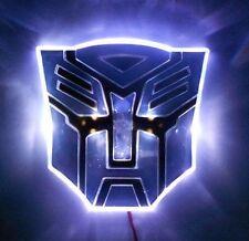 "4"" White LED TRANSFORMERS Autobot 3D Logo Emblem Badge Car Glow Light"
