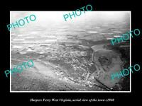 OLD LARGE HISTORIC PHOTO OF HARPERS FERRY WEST VIRGINIA AERIAL OF THE TOWN c1940