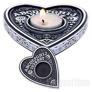 BLACK & WHITE HEART SPIRIT BOARD TEA LIGHT CANDLE HOLDER 9.5CM WICCA PAGAN