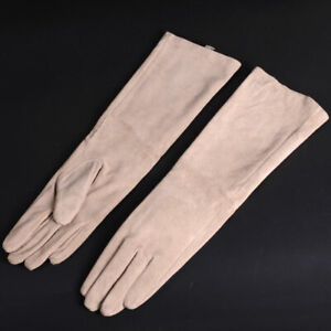 Custom made women elbow long real suede leather gloves multi colors to choose