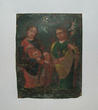 Old Antique Vtg 19th C 1800s Hand Painted Tin Folk Art Retablo Holy Family Nice