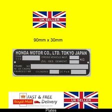 Honda Motorcycle various bike ID replaement frame + RIVETS blank-vin-plates H2