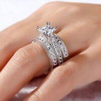 7.09Ct 3PC Princess Cut Diamond 18K White Gold Over Engagement Bridal Ring Set