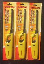 3 pack YELLOW REFILLABLE Utility Lighter b-b-q fireplaces campfires candles