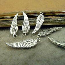 50x Charms Small Feather Pendant Beads Jewellery Crafts Tibetan Silver /S47