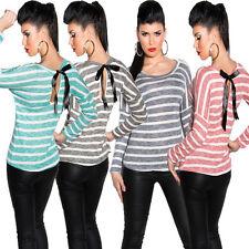 Gestreifte locker sitzende hüftlange Damenblusen, - tops & -shirts aus Viskose