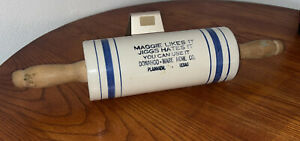 ANTIQUE Stoneware Advertising Rolling Pin Donahoo Ware Hardware Plainview Texas