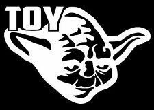 TOY YODA TOYOTA Vinyl Decal Star Wars Wall Car Window Force Rogue Jedi White