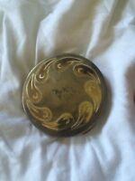 Vintage PILCHER COMPACT Face Powder Gold Silver Tone  Container Mirror Antique