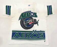 Vintage Salem Houston Aeros All Over Print Hockey T-Shirt White L Tee USA