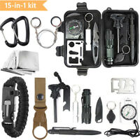 15 en 1 SOS Kit de Survie Urgence Poche Multifonctions Randonnée Bivouac Camping