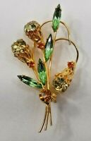 VNTG Brooch Lapel Scarf Pin Goldtone w/ Clear Green & Gold Crystal Stones 7887F