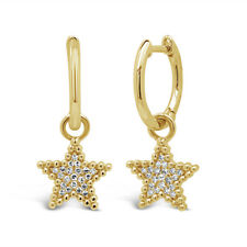 0.08 CT 14K Yellow Gold Round Diamond Beaded Dangle Drop Star Charm Earrings
