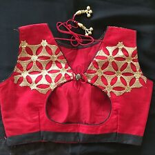 SAREE, RED, BLACK, GOLD; READY MADE RED DESIGNER SAREE BLOUSE, BUST 34