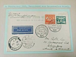 1929 1ST TRIAL FLIGHT COVER NEDERLAND TO GB UK SINGAPORE B977.29 START $0.99