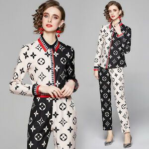 Spring Summer Fall 2pcs Runway Women Sets Floral Print Blouse Pant Suits Outfits