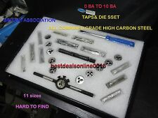 TAP SET BRITISH ASSOCIATION 0 BA TO 10 BA WITH DIES  KIT VINTAGE BIKES AND CARS