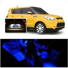 For Kia Soul 2014-2016 Blue LED Interior Kit + Xenon White License Light LED