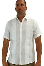 Mens Bohio 100% Linen Embroidered White Casual Short Sleeve Shirt (S~2XL)-MLS255