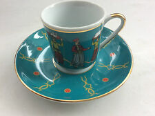 Handmade Gold Trim Turkish Coffee Cups & Round Dishes (2 people) Porcelain GURAL