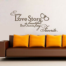 Every Love Story Is Beautiful Quote Removable Vinyl Wall Decal Sticker DIY Room