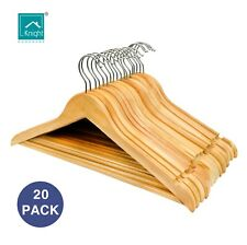 KNIGHT Pack of 20 Strong Premium Wooden Coat Hangers Round Trouser Bar