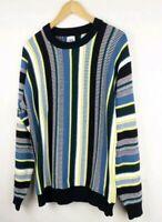 Zara Black Yellow Green Stripe Jumper Size M Retro 80s 90s Funky Quirky Cotton