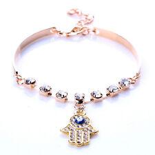 Vintage Women Gold Crystal Rhinestone Hamsa Fatima Hand Charm Bracelet Jewelry