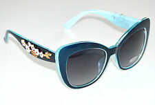 OCCHIALI da sole Blu Azzurro donna lenti asta fiori floreale oro sunglasses F30