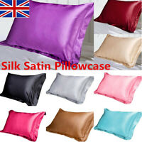 ~ Silk Satin Pillow Case Standard Bed Soft Cushion Cover Multicolor Pillowcase