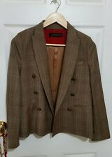 ZARA SzM Brown Tweed Tailored Formal Double Breasted 100% Wool Equestrian Blazer