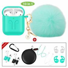 Case for Airpods 1 And 2 Fur Ball Keychain Cover 10 Pack Accessories Mint Green