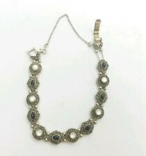 "8"" Sterling Silver Onyx MOP Marcasite Vintage Slide Charm Bracelet Double Chain"