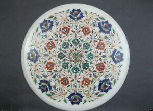 "18"" Marble table top semi precious stones inlay floral handicraft art work"