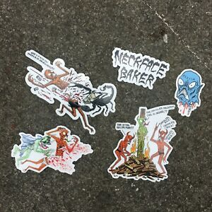 BAKER SKATEBOARDS - NECK FACE WIZARDRY STICKERS PACK OF 5 - COLLECTABLE RAD NEW