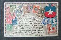 1906 CHILE Coat of Arms Embossed Stamp Postcard No. 37 by Ottmar Zieher, Used