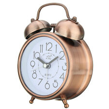 Classic Silent Metal Double Bell Alarm Clock Quartz Movement Bedside Night J5V4