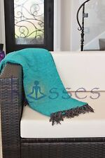 NEW Solid Color Deluxe Mexican Blanket Handwoven Yoga Serape HandmadeTeal GREEN