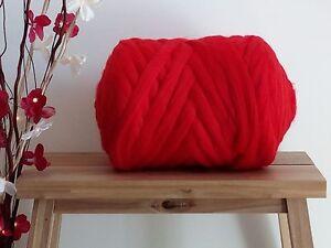 Poppy Red* 100% Merino Wool Roving Giant Yarn Extreme Arm Knitting, 100 g - 1 kg