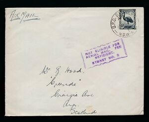 AUSTRALIA 1942 to SCOTLAND NOT ELIGIBLE FOR AERIAL MAIL...FEE DEFICIENT BOXED
