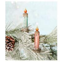Set/2 Bethany Lowe Pastel Candle Clip Christmas Tree Ornaments Retro Vntg Decor