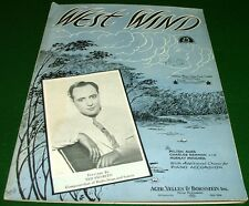 West Wind 1936 Sheet Music w Accordion Guitar Banjo, Ted Fio-Rito Cover No Tape