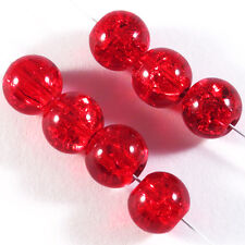 Lot de 30 perles Craquelées en Verre 8mm Rouge