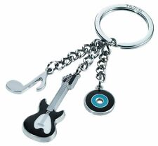 Troika Metal Keyring MUSIC 3 CHARM key chain ring KR1202BK guitar,note,record