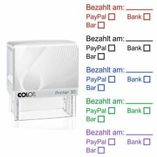 Bezahlt am PayPal Bank Bar Textstempel Colop Printer 30 Selbstfärbend 5 Farben