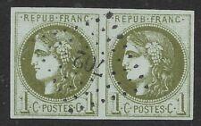 France, 1c Bordeaux pair used, 1870 Sc#38, superb