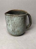 Studio Art Pottery Pitcher Gray and Blue Signed R J E 53