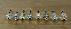 """Antique Glass Knob Set of 8 Vtg Cabinet Door Pull 1 1/4"""" Drawer Handle   37-21J"""
