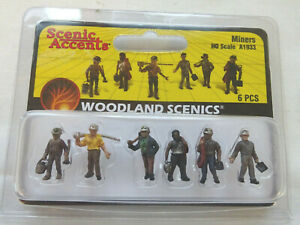 WOODLAND SCENICS OO / HO GAUGE MINERS FIGURES A1933  [MINT AND BOXED]