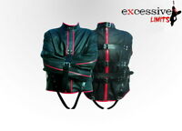 Leather Men Straight Jacket Black Color with Red Piping Return Accepted in USA